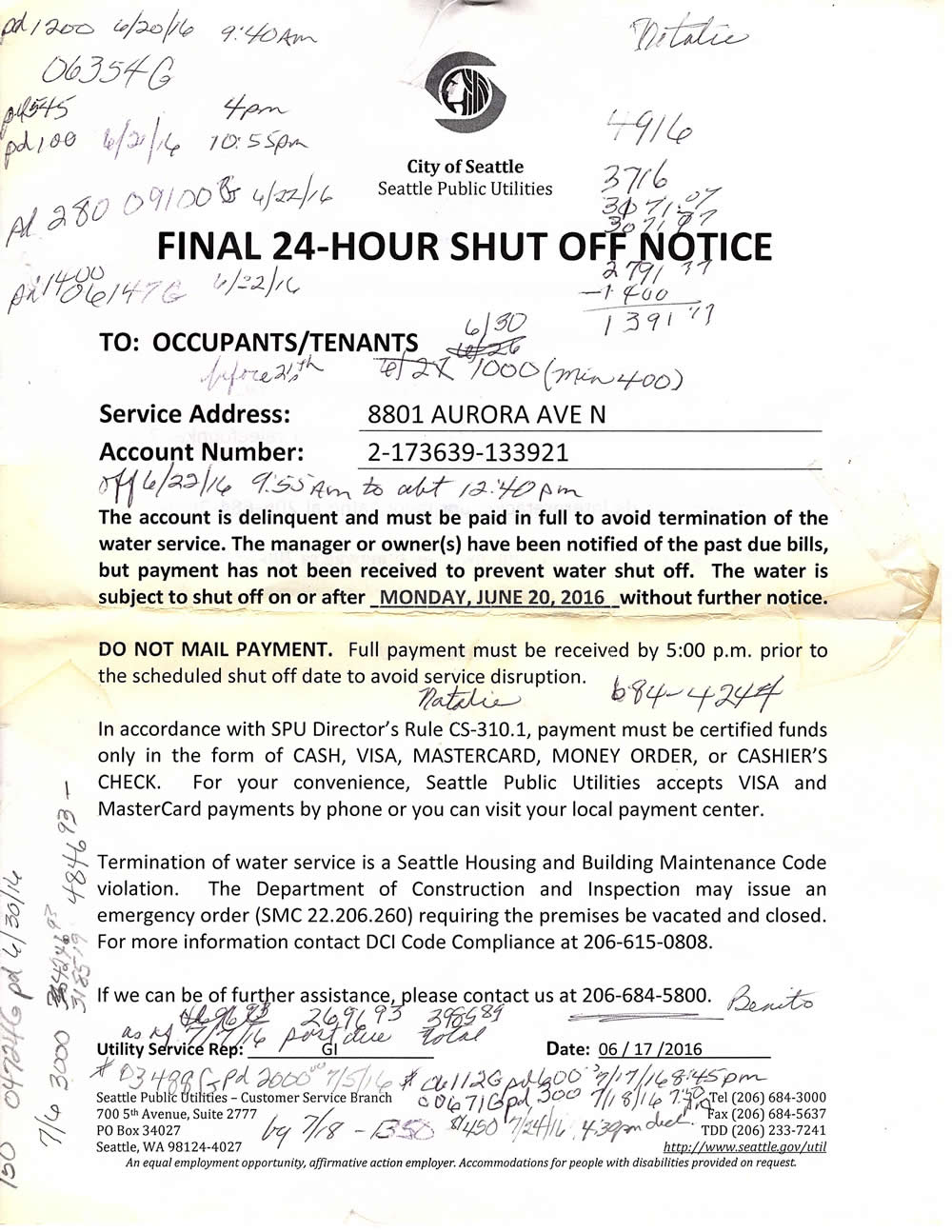 An SPU Shut Off Notice From Last Summer, With Jenniferu0027s Notes Showing How  Much Sheu0027d Paid On The Account And When. In March Od 2017 SPU Accepted  Several ...